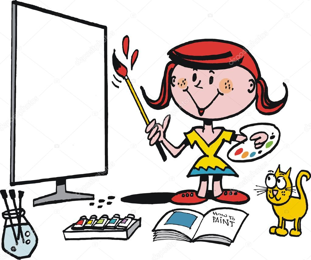 Vektör Karikatür Gösteren Genç Kız Boyama Resmi Stok Vektör