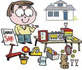 vektorové karikatura člověka prodávající zboží na dobročinný bazar.