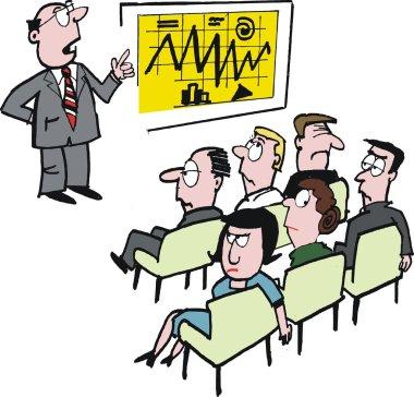Vector cartoon of man at business seminar and bored audience.