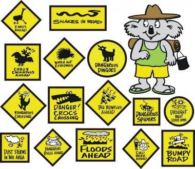 Vector cartoon showing funny Australian road signs and koala bear.