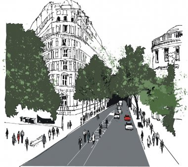 Vector illustration of Whitehall street scene with pedestrians, London