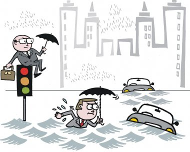Vector cartoon of stranded commuters in city flood
