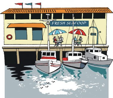 Vector illustration of boats anchored by seafood restaurant