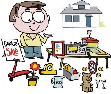 Vector cartoon of man selling items at garage sale.