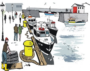 Vector illustration of fishing boats at St.Abs, Scotland
