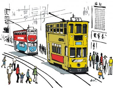 Vector illustration of Hong Kong trams, and pedestrians.