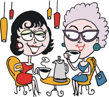 Vector cartoon of two women drinking coffee