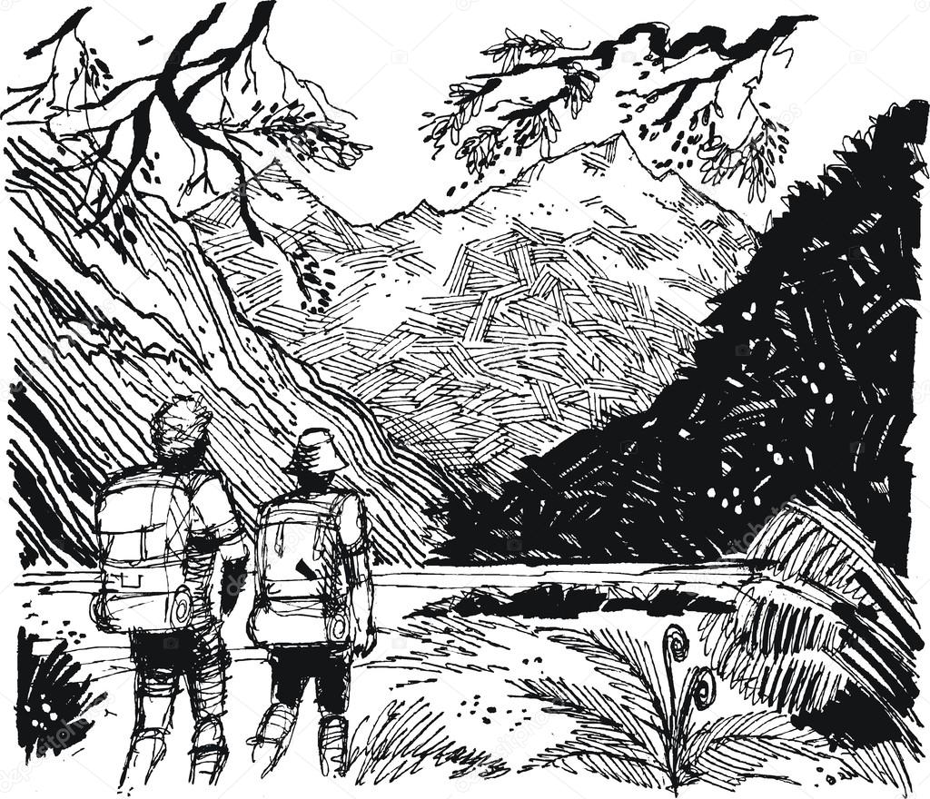 Vector illustration of hikers walking in alpine valley.