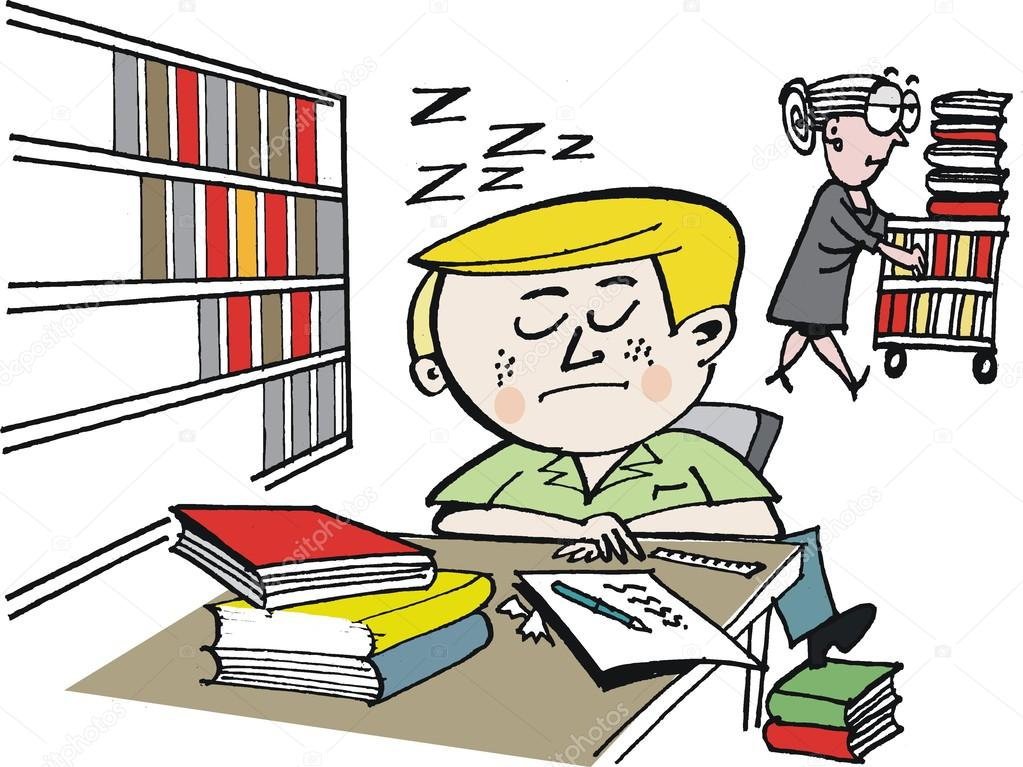 Vector Cartoon Of Student Asleep In Library