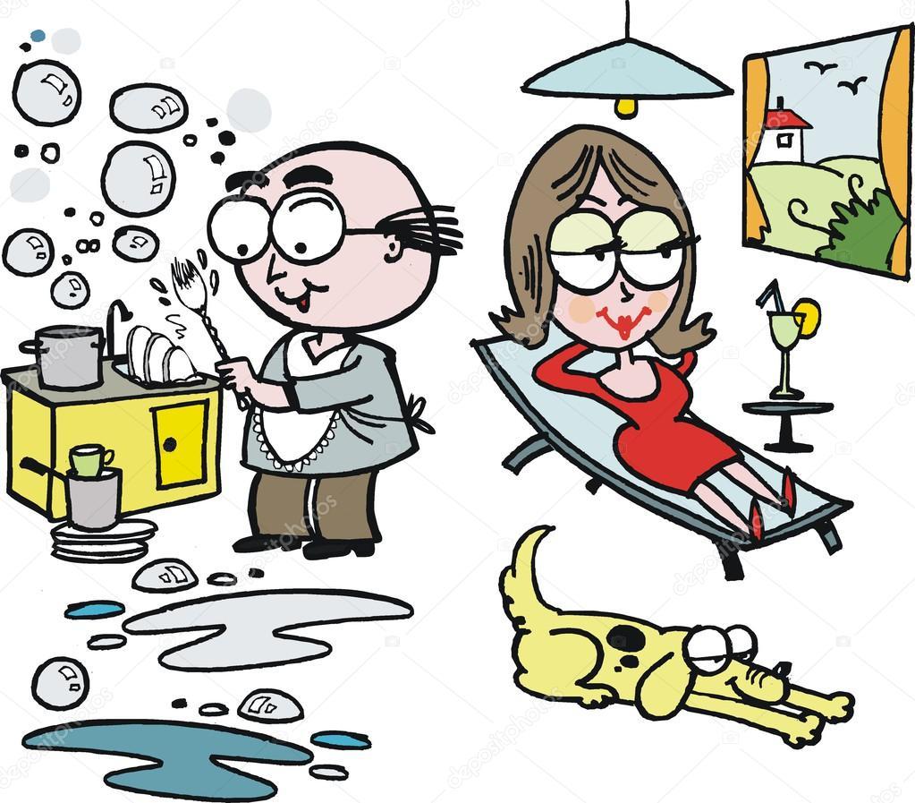Cartone animato di vettore dell uomo lavare i piatti in