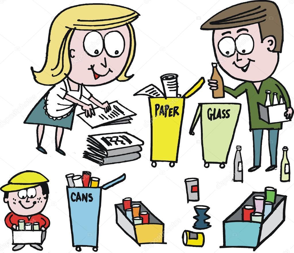 desenho de vetor da família reciclagem de papel garrafas e latas
