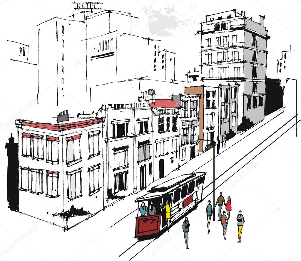 Vector illustration of San Francisco buildings and cable car — Stock ...