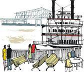 illustrazione vettoriale del mississipi battello a vapore e turisti