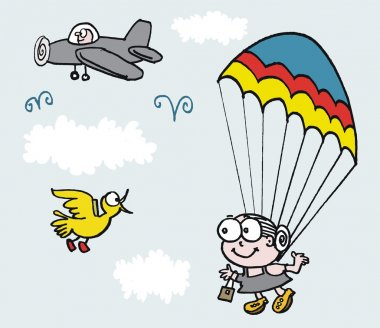 Vector cartoon of grandmother jumping out of plane with parachute