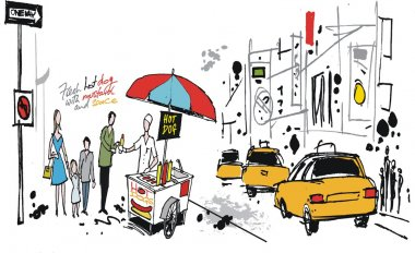 Vector illustration of hot dog stand in New York