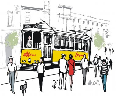 Vector drawing of Lisbon tram with pedestrians, Portugal.