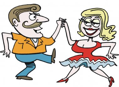 Vector cartoon of couple dancing rock and roll