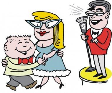 Vector cartoon of odd couple dancing with man singing.