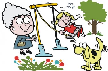 Vector cartoon of grandmother pushing child on swing in park.