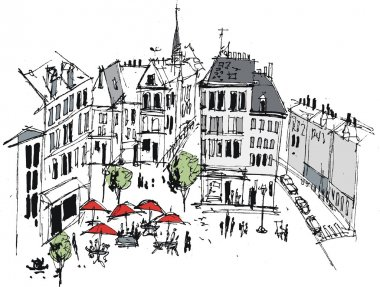 Vector illustration of French town with buildings and cafe