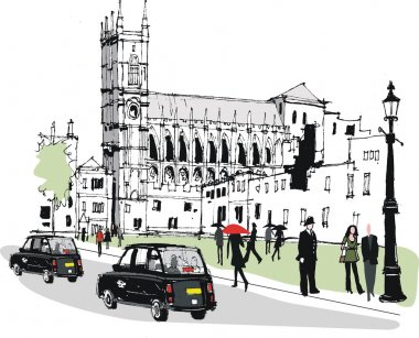 Vector illustration of pedestrians in Whitehall, London England