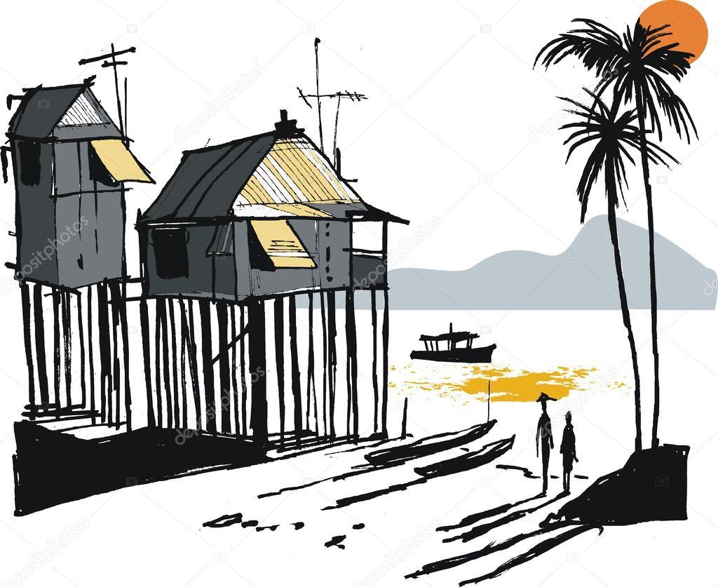Vector illustration of Malay fishing village, Singapore Asia
