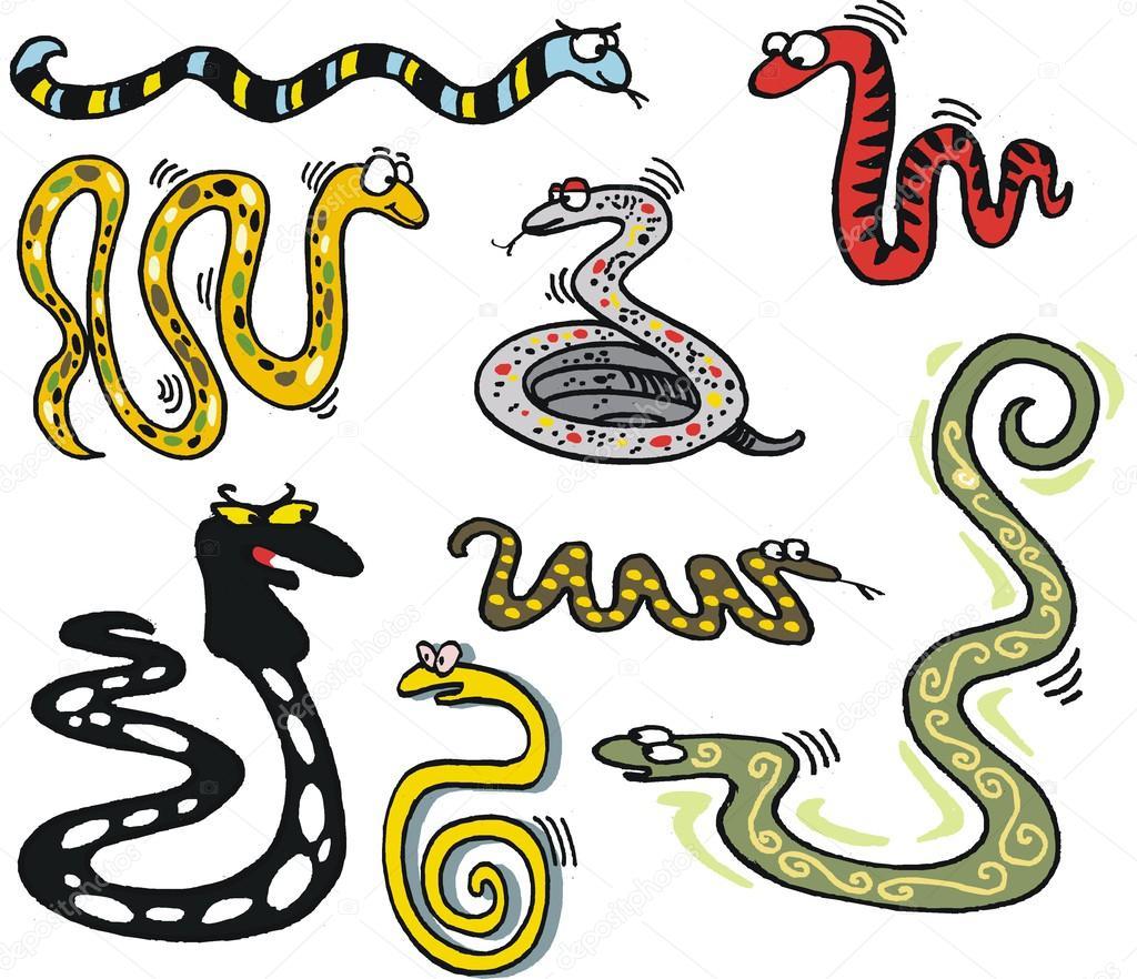 Kreslene Vektorove Zobrazeni Skupiny Hadu Stock Vektor C Click60
