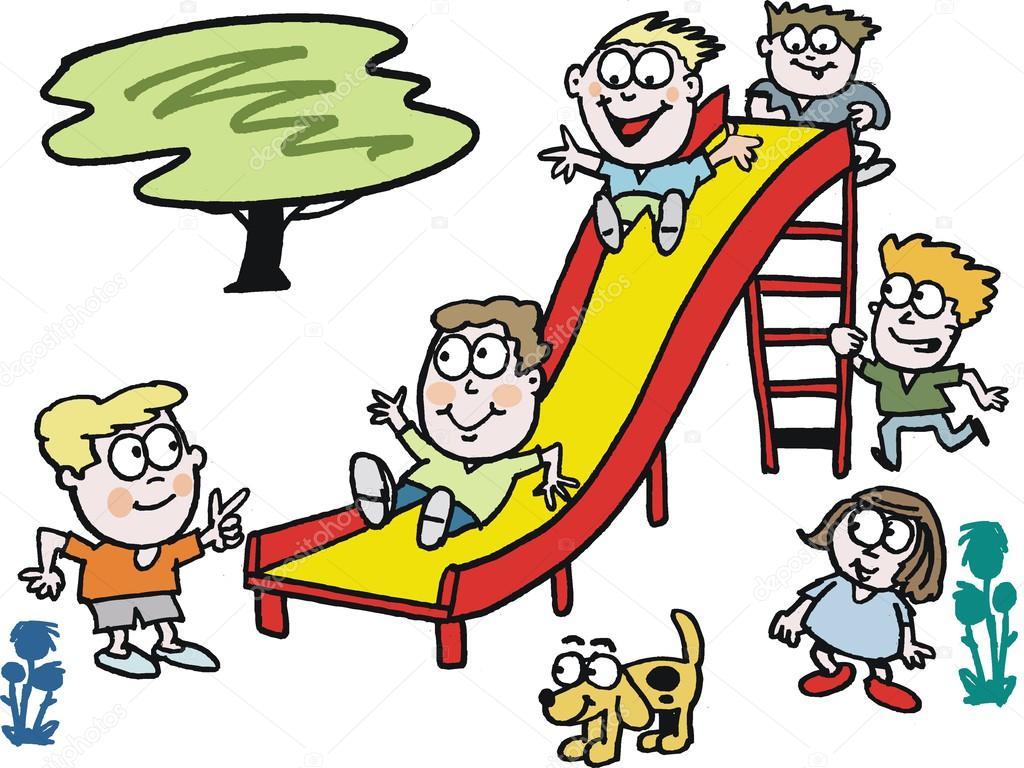 desenho vetorial de crianças brincando no slide no parque ...