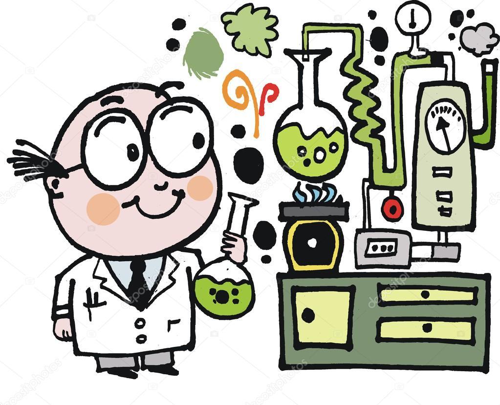 desenho vetorial de cientista no laboratório vetores de stock