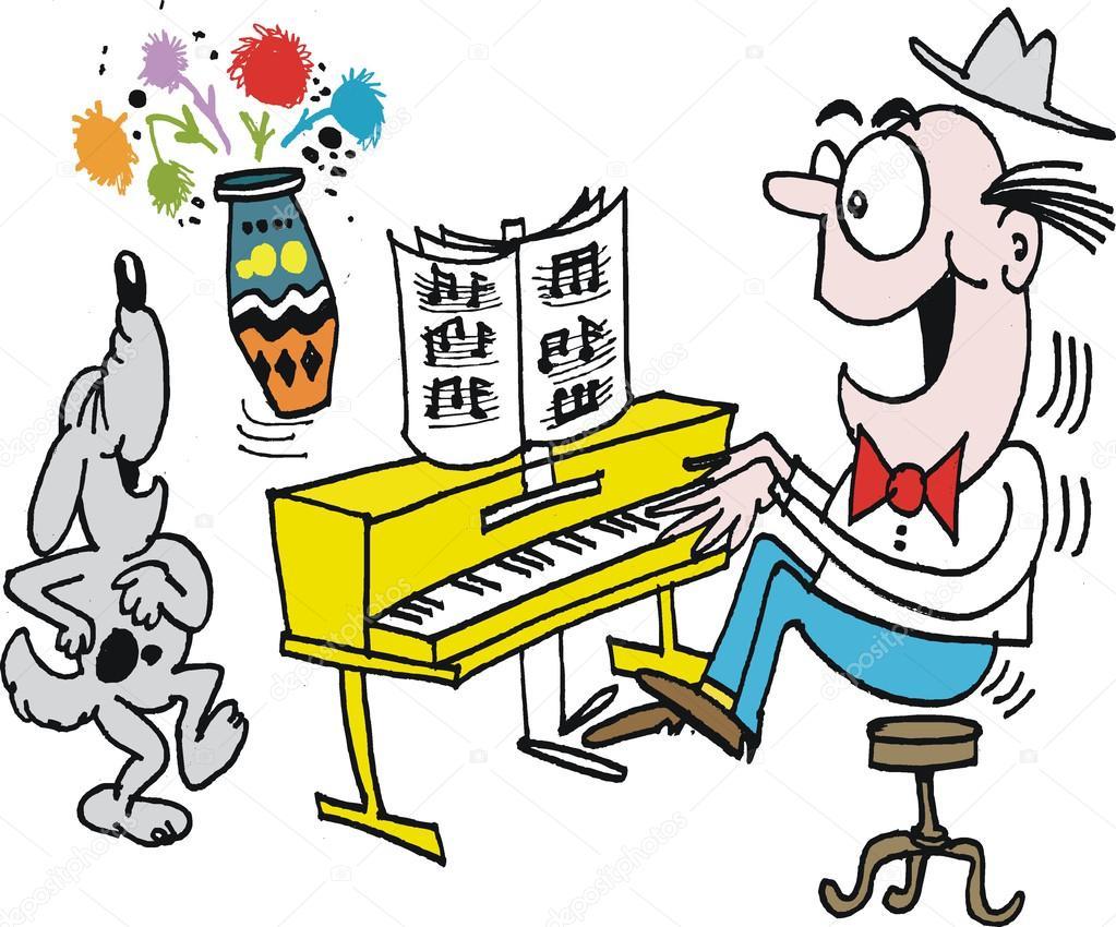 Dibujos Animados Vector Del Hombre Cantando En Piano Con