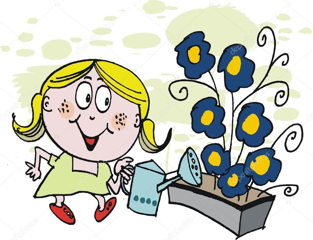 Vektor Cartoon Von Jungen Madchen Die Blumen Giessen Stockvektor
