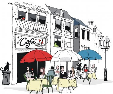 Vector illustration of dining at French cafe.