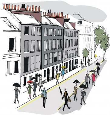 Vector illustration of city commuters in Whitehall, London England