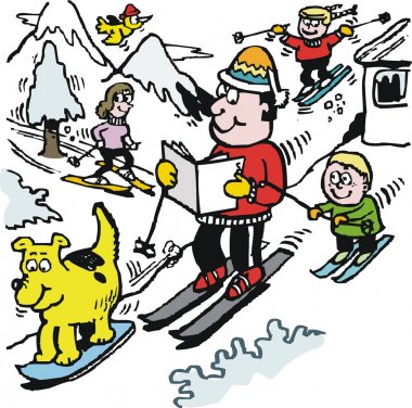 Vector cartoon of happy skier reading newspaper on mountain slope.