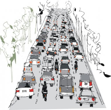 Stylized vector illustration of traffic congestion on highway