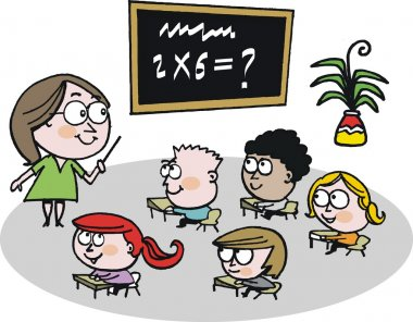 Vector cartoon of schoolteacher instructing children in classroom