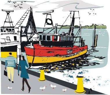 Vector illustration of fishing boat moored by wharf with