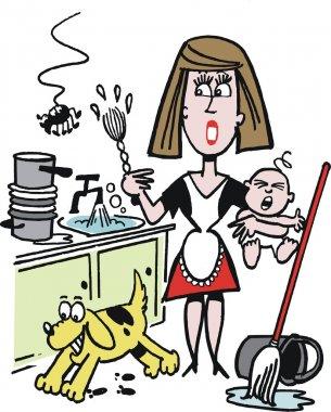 Vector cartoon of overworked housewife in kitchen
