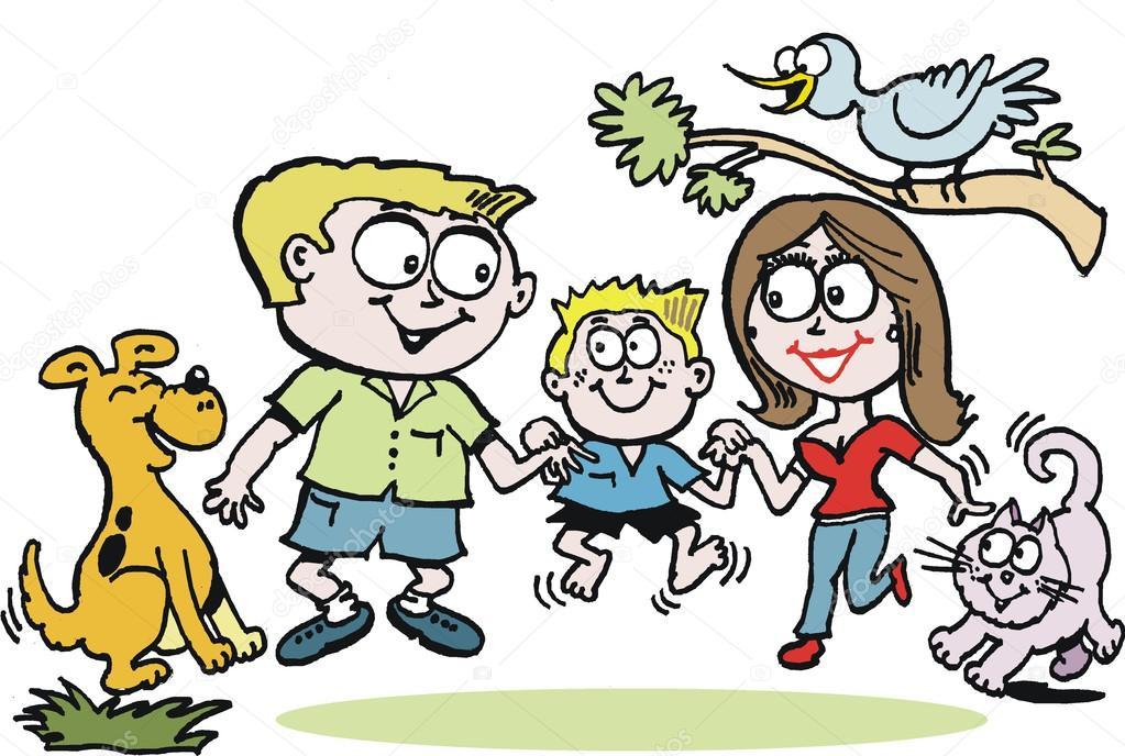 Dibujos Animados De Niños Felices Y Payaso En El Parque: Dibujos Animados De Vector De Familia Feliz En El Parque