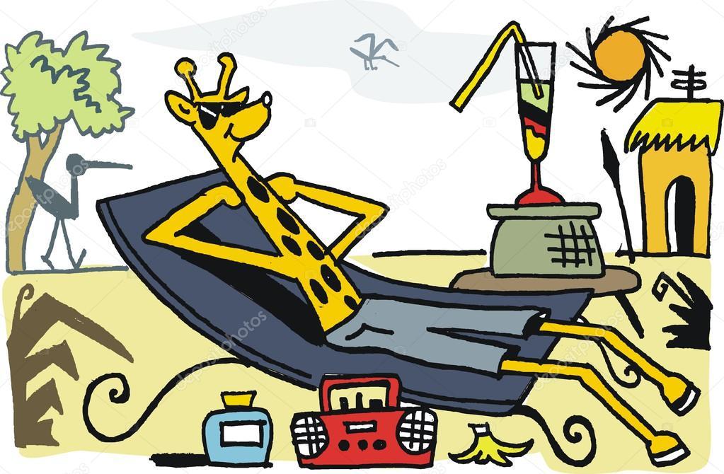 De Sur Vecteur Heureux Girafe Détente Longue Chaise Caricature DHWYEI29