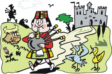 Vector cartoon of Scotsman blowing bagpipes beside lake and castle.