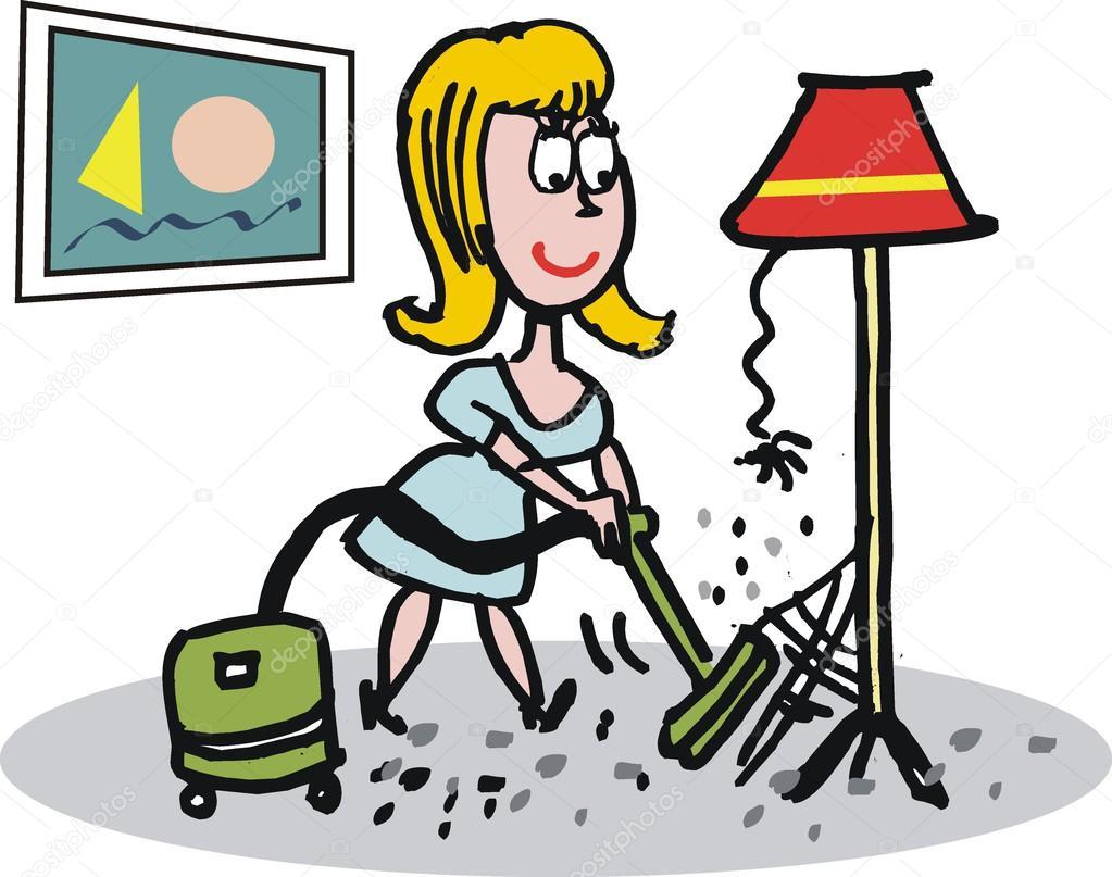 dibujos animados vector casa limpieza mujer — Archivo Imágenes ...