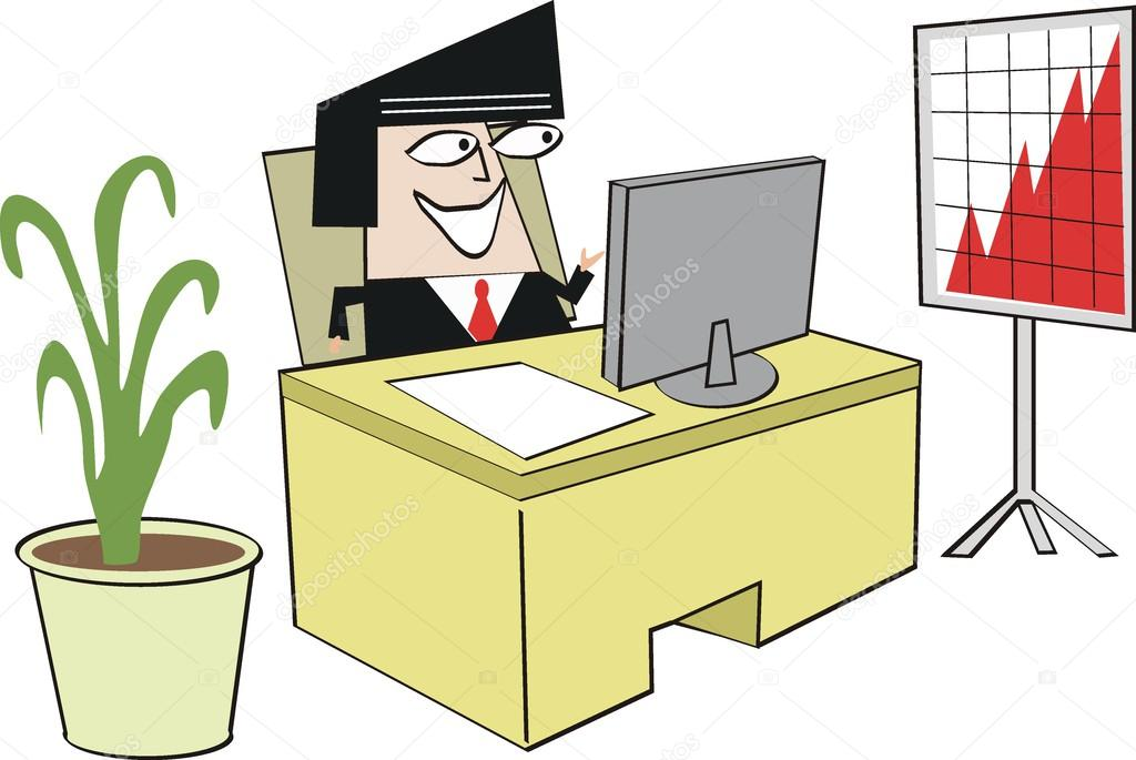 Vektor Karikatur Eines Mannes Am Computer Schreibtisch Mit Verkaufstabelle Im Buro Stockvektor C Click60 26291787