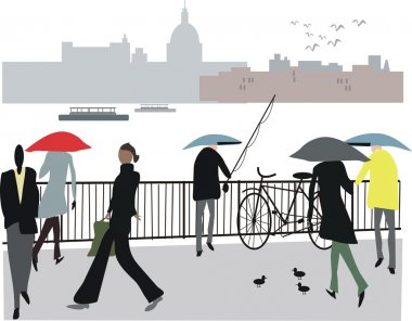 Vector illustration of pedestrians along Embankment, London England.