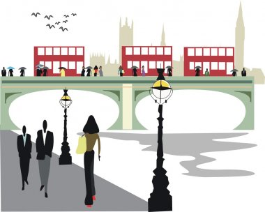 Vector illustration of Embankment area London with double decker buses on Westminster Bridge.
