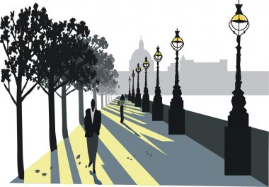 Vector illustration of embankment area London England at dawn with shadows.