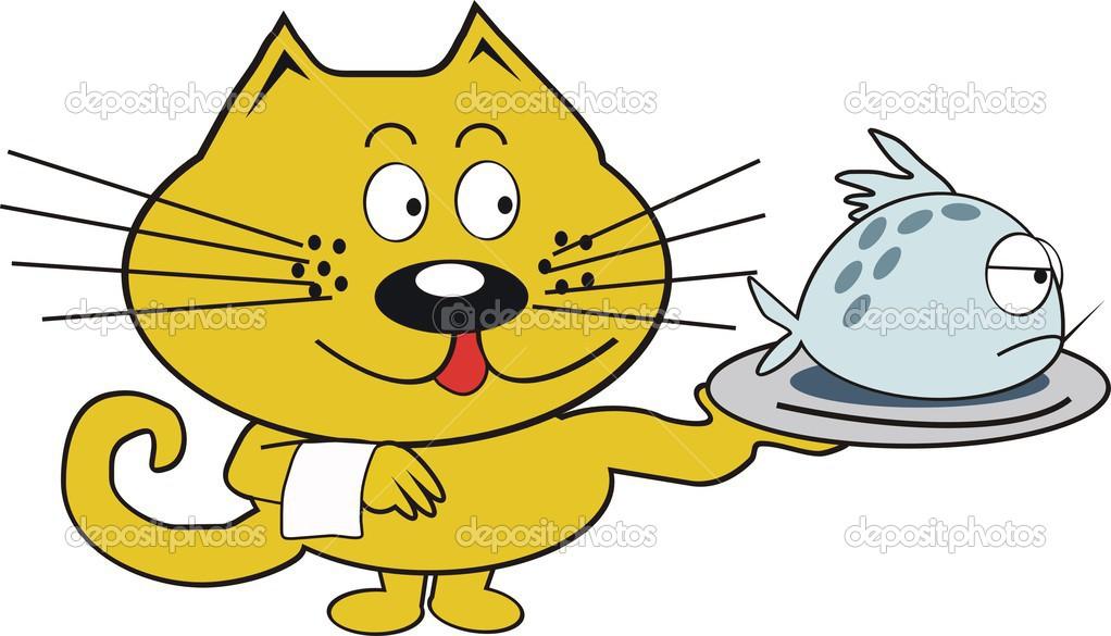 Cartone animato di vettore del gatto arancione con piatto