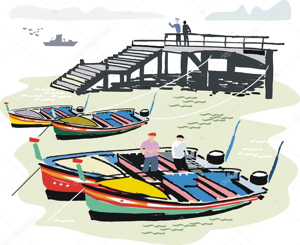 Vector illustration of Portuguese fishing boats at anchor next to wharf, Algarve .