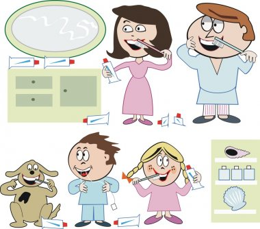 Vector cartoon of happy family cleaning teeth at home