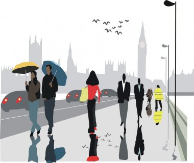 Vector illustration of pedestrians on Westminster Bridge, London with Big Ben in background